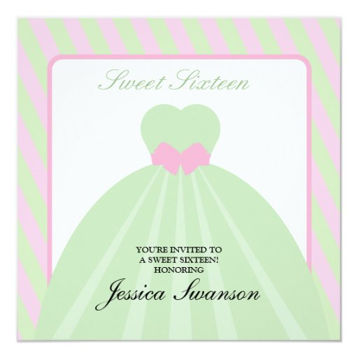 Pastel Pink & Green Formal Gown Sweet Sixteen 13 Cm X 13 Cm Square Invitation Card