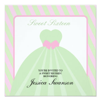 Pastel Pink & Green Formal Gown Sweet Sixteen Card