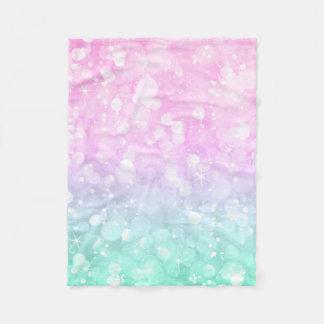 Pastel Pink & green Glam Bokeh Glitter & Sparkles Fleece Blanket