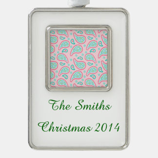 Pastel Pink & Green Paisley Silver Plated Framed Ornament
