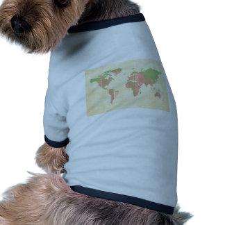 Pastel Pink Green Stripes Map Dog T-shirt
