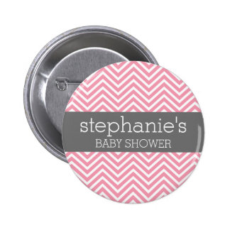 Pastel Pink & Grey Chevrons Baby Shower Collection 6 Cm Round Badge