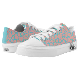 Pastel Pink Hearts Low Top Shoes