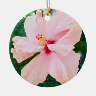Pastel Pink Hibiscus Double-Sided Ceramic Round Christmas Ornament