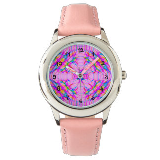 Pastel Pink Kaleidoscope Pattern Abstract Watch