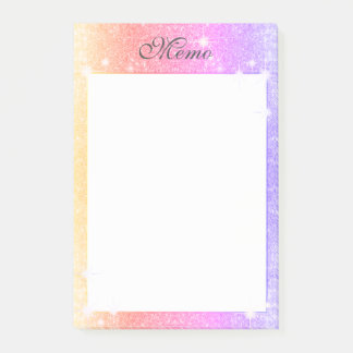 Pastel Pink Lavender Gold Glitter Sparkle Post-it Notes