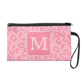 Pastel Pink Leopard Print. Custom Monogram. Wristlet