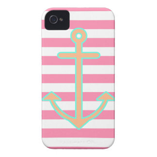 Pastel Pink Nautical Anchor iPhone 4 Cover