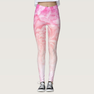 Pastel Pink Ombre Flower Leggings