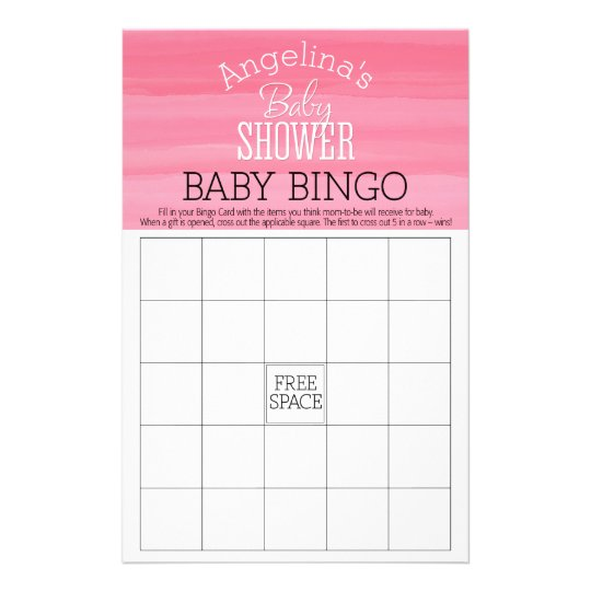 Pastel Pink Ombre Girl Baby BINGO Shower Stationery