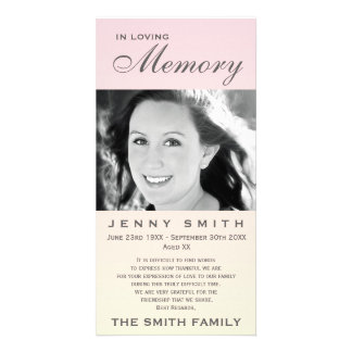 Pastel Pink Ombré Memorial Family Acknowledgement Card