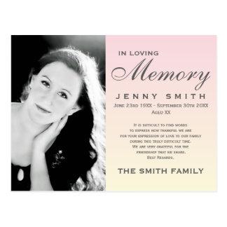 Pastel Pink Ombré Memorial Family Acknowledgement Postcard