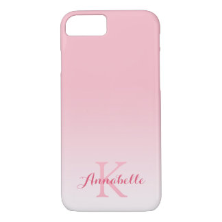 Pastel Pink Ombre Name & Monogram iPhone 7 Case