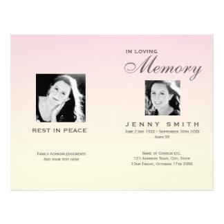 Pastel Pink Ombré Order of Service Funeral Program Flyer