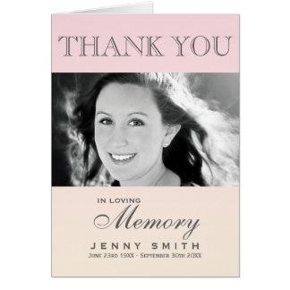 Pastel Pink Ombré Photo Sympathy Thank You Card