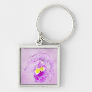 Pastel Pink Orchid Silver-Colored Square Key Ring