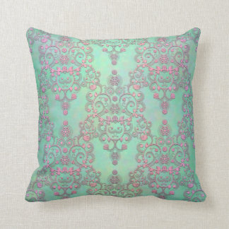 Pastel Pink over Mint Green Floral Damask Cushion
