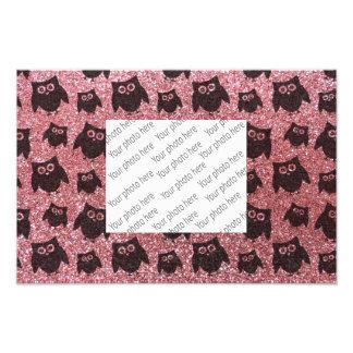 pastel pink owl glitter pattern art photo