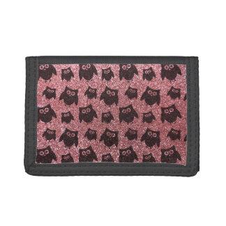 pastel pink owl glitter pattern tri-fold wallet