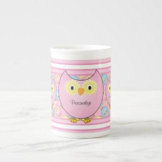 Pastel Pink Owl Tea Cup