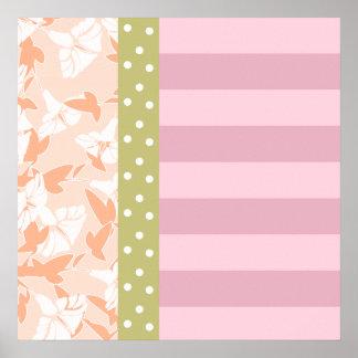 Pastel Pink Peach Tan Polka Dot Striped Floral Poster