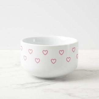Pastel Pink Polka Dot Hearts Pattern Soup Mug