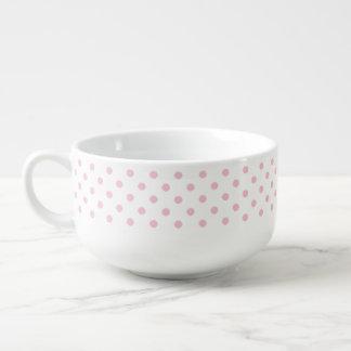 Pastel Pink Polka Dot Pattern Soup Mug