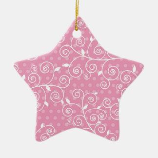 Pastel Pink Polka Dots & White Swirls Ceramic Star Decoration