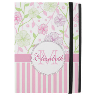 "Pastel pink, purple, flowers, pink & white stripes iPad pro 12.9"" case"
