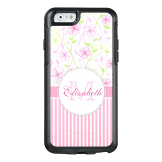Pastel pink, purple, flowers, pink & white stripes OtterBox iPhone 6/6s case