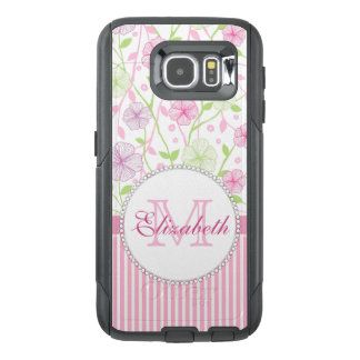 Pastel pink, purple, flowers, pink & white stripes OtterBox samsung galaxy s6 case