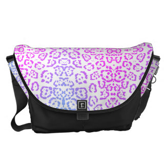 Pastel Pink Purple Leopard Cat Animal Print 2 Messenger Bag
