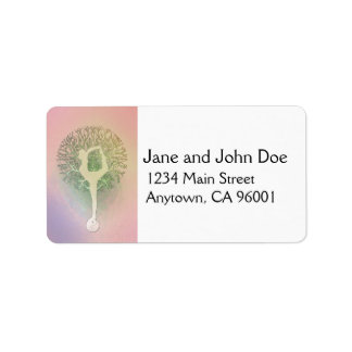 Pastel Pink Rainbow Yoga Tree Address Label
