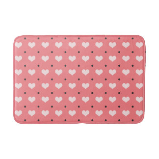 pastel pink red love hearts, polka dots pattern bath mat