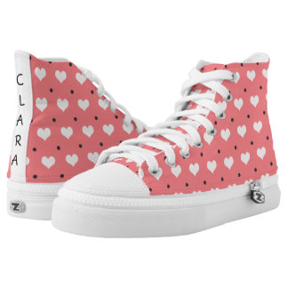 pastel pink red love hearts, polka dots pattern high tops