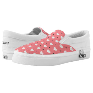 pastel pink red love hearts, polka dots pattern Slip-On shoes