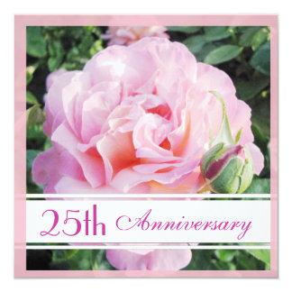 Pastel Pink Rose 25th Anniversary Invitation