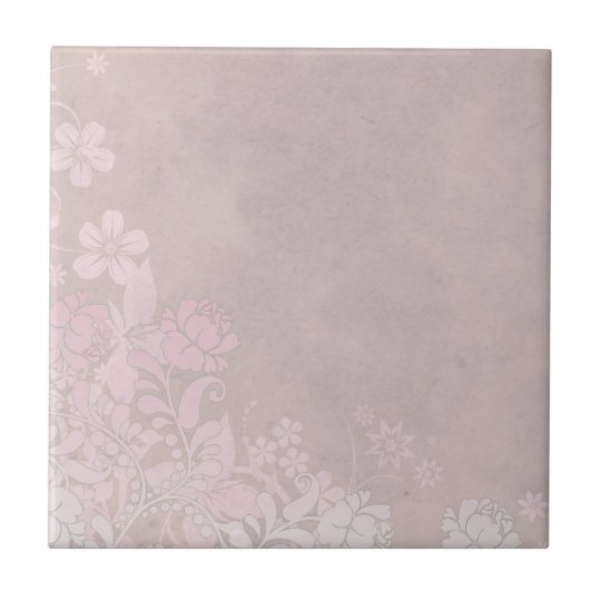 Pastel Pink Rose and Flowers Small Square Tile