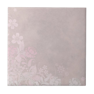 Pastel Pink Rose and Flowers Tile