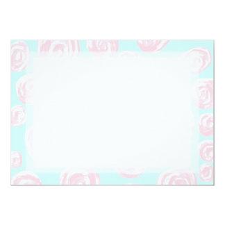 Pastel Pink Rose Pattern on Light Blue. 13 Cm X 18 Cm Invitation Card