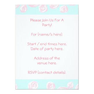 Pastel Pink Rose Pattern on Light Blue. Custom Invite