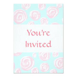 Pastel Pink Rose Pattern on Light Blue. Personalized Invitation