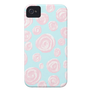 Pastel Pink Rose Pattern on Light Blue. iPhone 4 Cover