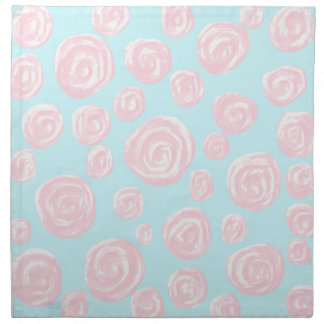 Pastel Pink Rose Pattern on Light Blue. Napkin