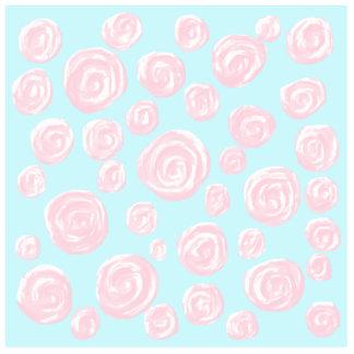 Pastel Pink Rose Pattern on Light Blue. Photo Sculpture Badge