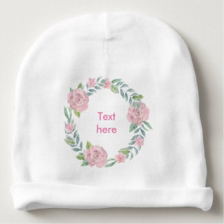 Pastel pink rose wreath customisable name or text baby beanie