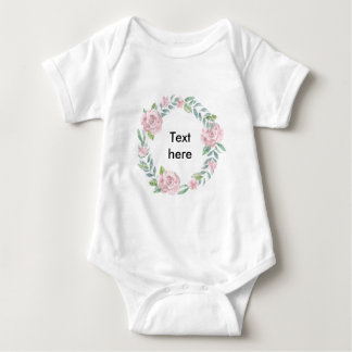 Pastel pink rose wreath customisable name or text baby bodysuit
