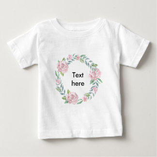 Pastel pink rose wreath customisable name or text baby T-Shirt