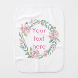 Pastel pink rose wreath customisable name or text burp cloths