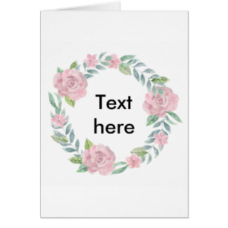 Pastel pink rose wreath customisable name or text card